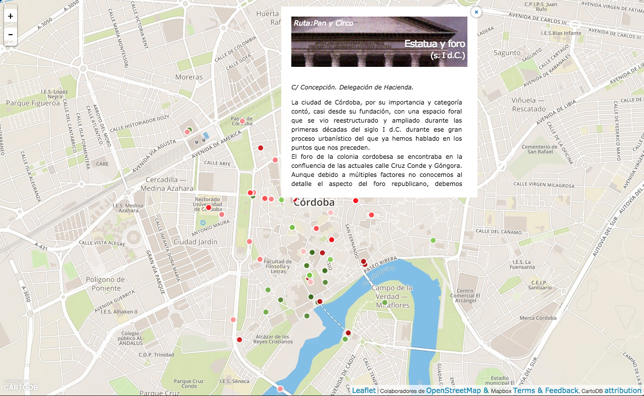 Exploring a city with APIs: the case of Cordoba and its archaeological routes explorer
